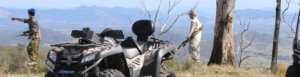 Hunt with the use of U8 CF Moto Side by Side ATVs and two X8 4X4 bikes all equipped with gun carriers. Red Deer Rusa Deer Fallow Deer Chital Deer Goats Buffalo Camels Scrub Bulls Pigs